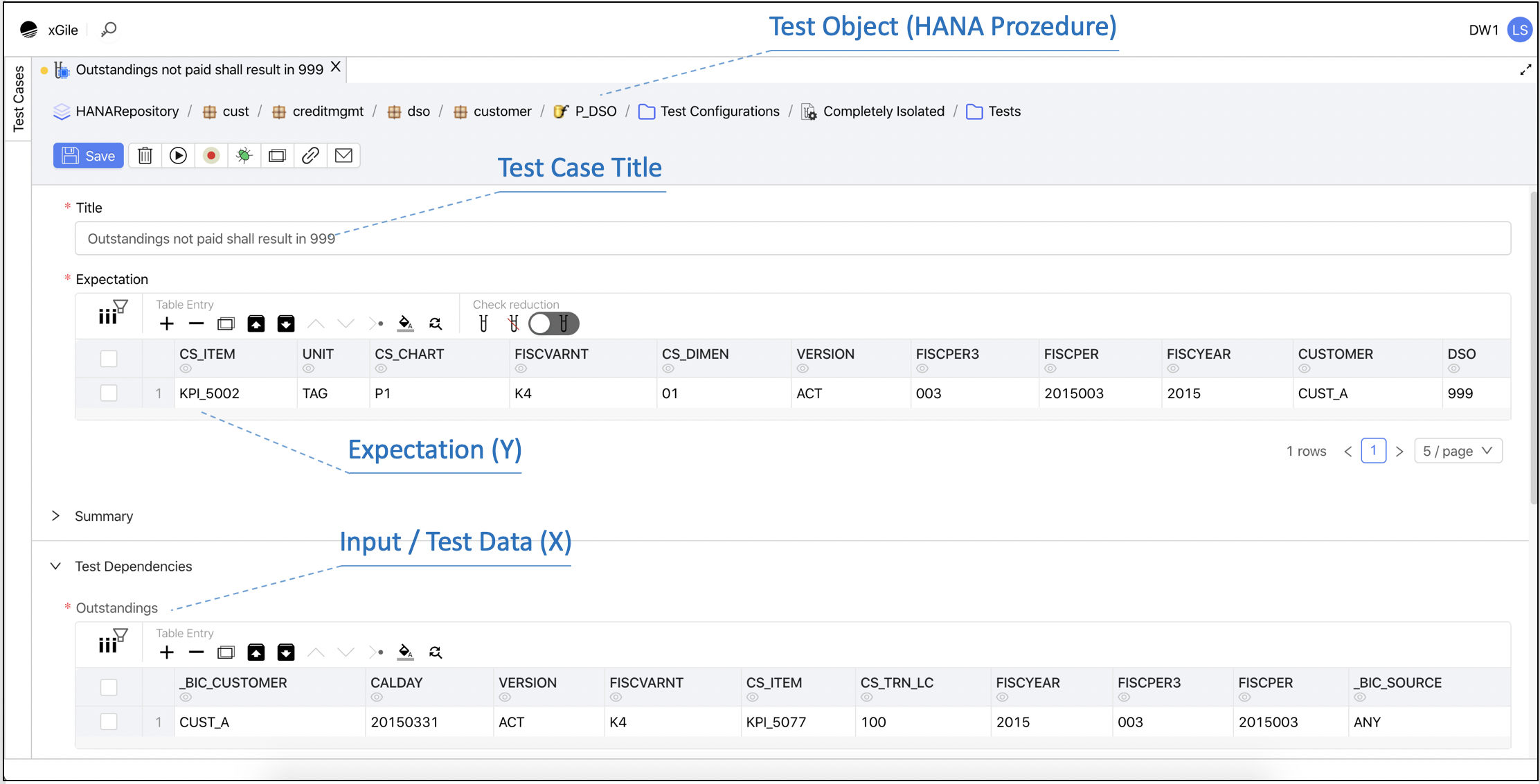 Simple test case definition and creation of a component test with xGile