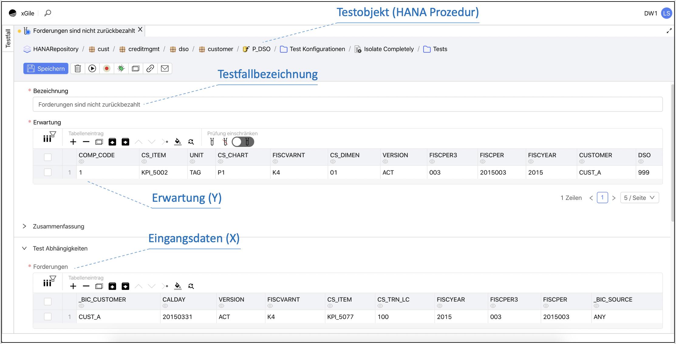 Einfache Testfalldefinition und Erstellung eines Komponententests mit xGile